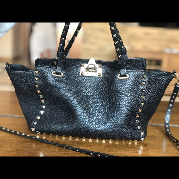 bb39ddadc2 Valentino Garavani Bags | Valentino Rockstud Grain Small Tote Bag ...